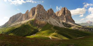 Dolomites. The Catinaccio group is a massif in the Dolomites located between the Tires valley, the Val d'Ega and the Val di Fassa in the Sciliar natural park. Trentino Alto Adige. italy