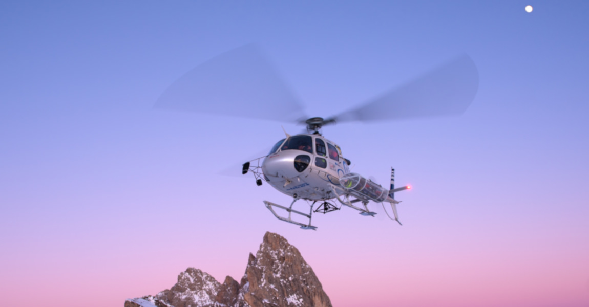 flying helicopter val gardena