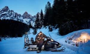 Aperitivo in motoslitta a San Martino di Castrozza